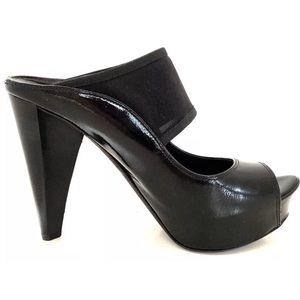 Donald Pliner Cecily Black Mesh Strap Slide Heels
